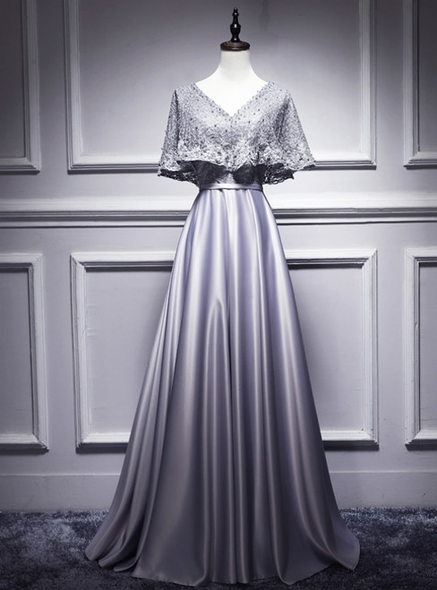 Silver Gray Satin Lace V-neck Bat Pearls Prom Dress