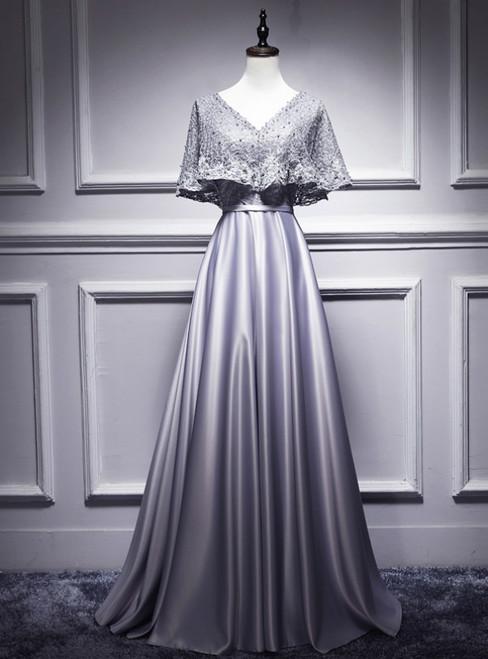 Silver Gray Satin Lace V-neck Bat Pearls Prom Dress