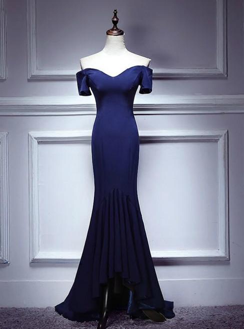 Navy Blue Hi Lo Mermaid Off the Shoulder Prom Dress
