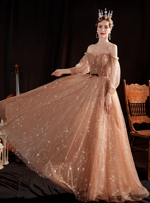 In Stock:Ship in 48 Hours Coffee Tulle Long Sleeve Prom Dress
