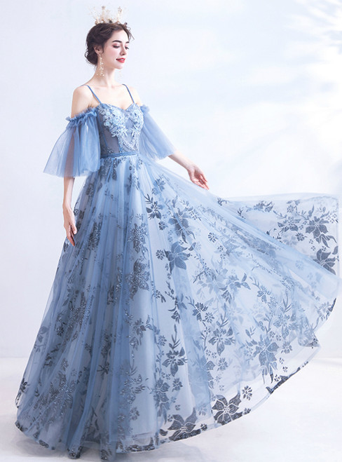 In Stock:Ship in 48 Hours Blue Tulle Sequins Beading Prom Dress