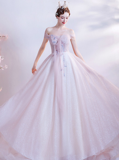 In Stock:Ship in 48 Hours Pink Tulle Off the Shoulder Sequins Beading Prom Dress