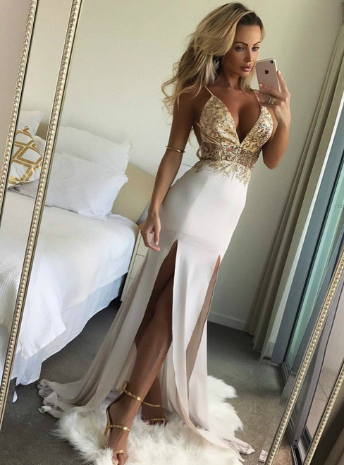 Backless Long Chiffon Evening Dress with Slits
