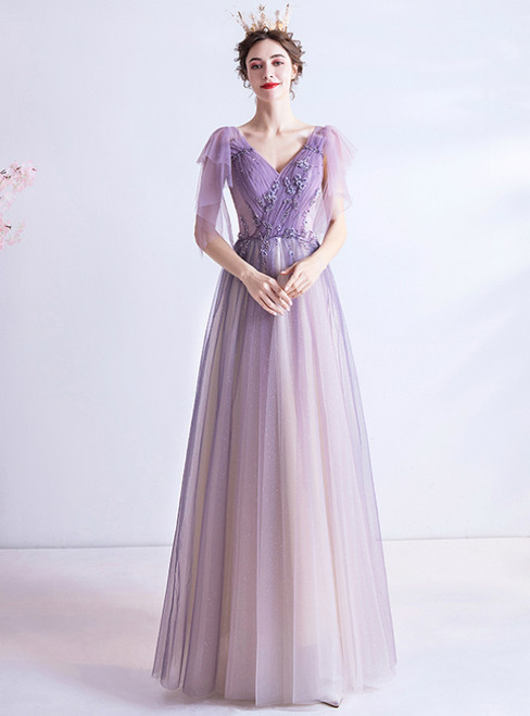 Purple Tulle V-neck Pleats Beading Prom Dress