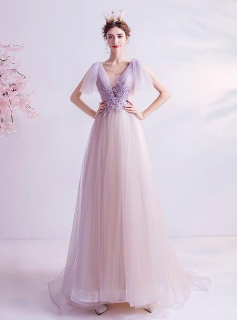 In Stock:Ship in 48 Hours Light Purple Tulle V-neck Beading Prom Dress