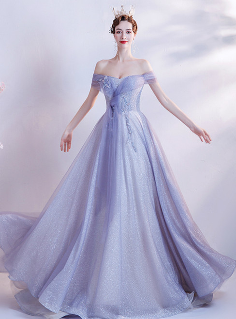 In Stock:Ship in 48 Hours Blue Purple Sequins Off the Shoulder Prom Dress