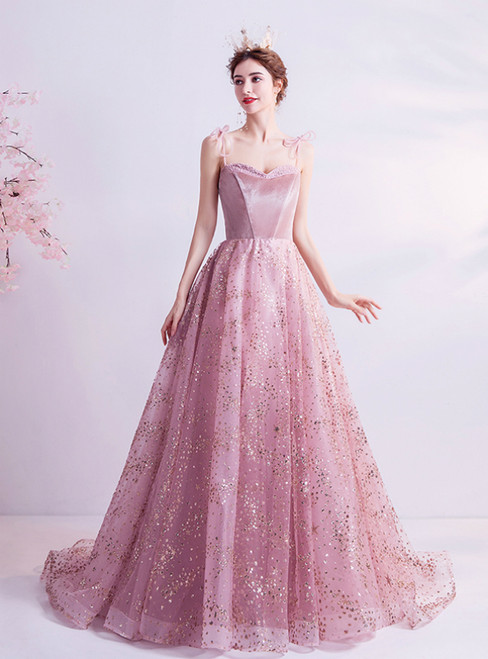 In Stock:Ship in 48 Hours Pink Tulle Spaghetti Straps Sequins Prom Dress