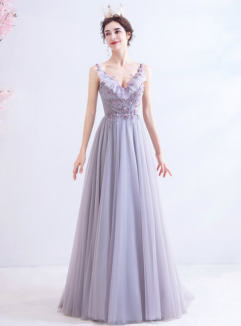 In Stock:Ship in 48 Hours Purple Tulle Deep V-neck Beading Prom Dress