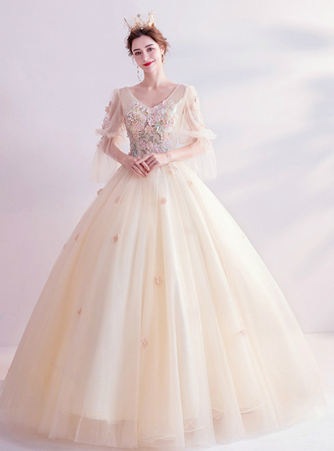 In Stock:Ship in 48 Hours Champagne Tulle Short Sleeve V-neck Appliques Wedding Dress