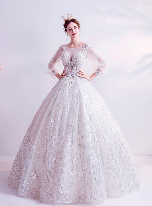 In Stock:Ship in 48 Hours White Tulle Sequins Long Sleeve Appliques Wedding Dress