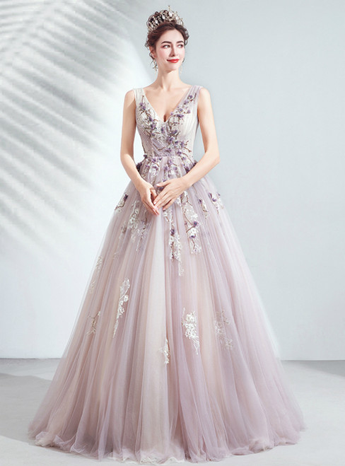 In Stock:Ship in 48 Hours Purple Tulle V-neck Appliques Beading Prom Dress