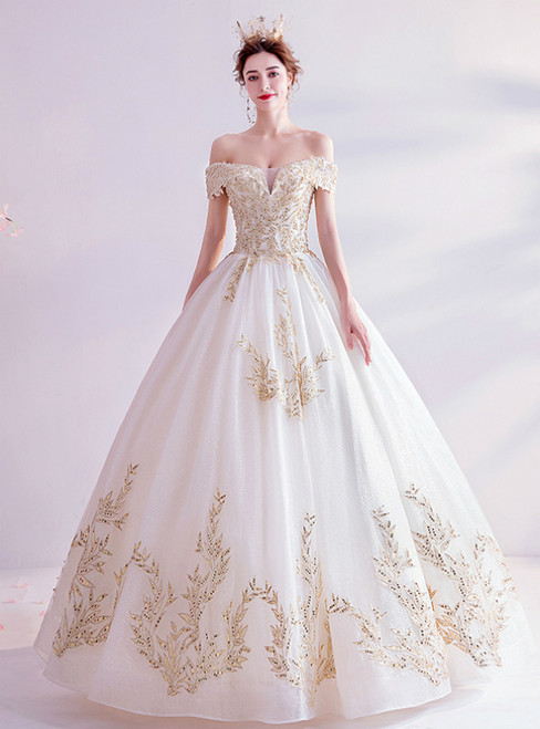 In Stock:Ship in 48 Hours Champagne Tulle Appliques Wedding Dress