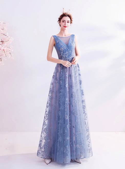In Stock:Ship in 48 Hours Blue Tulle Sequins Pleats Prom Dress