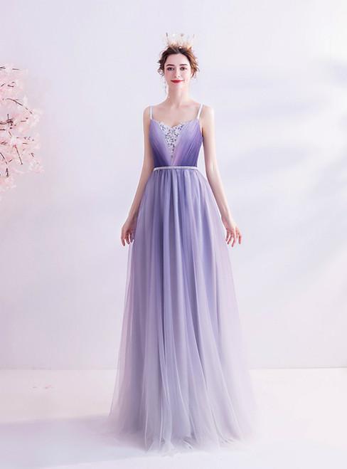 In Stock:Ship in 48 Hours Purple Spaghetti Straps Pleats Prom Dress