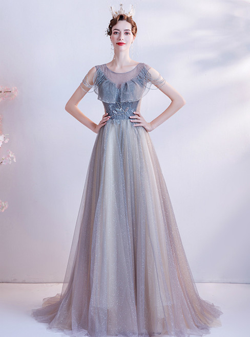 In Stock:Ship in 48 Hours Blue Tulle Pleats Beading Prom Dress