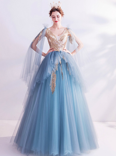 In Stock:Ship in 48 Hours Blue Tulle Sequins V-neck Princess Prom Dress