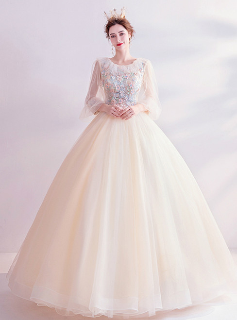 In Stock:Ship in 48 Hours Champagne Tulle Long Sleeve Prom Dress