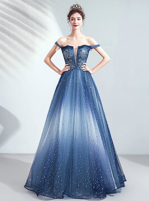 In Stock:Ship in 48 Hours Star Sequins Tulle Off the Shoulder Prom Dress