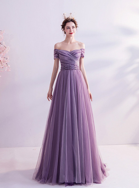 In Stock:Ship in 48 Hours Purple Tulle Off the Shoulder Pleats Prom Dress