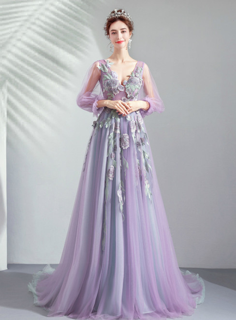 In Stock:Ship in 48 Hours Purple Tulle Long Sleeve Embroidery Appliques Prom Dress