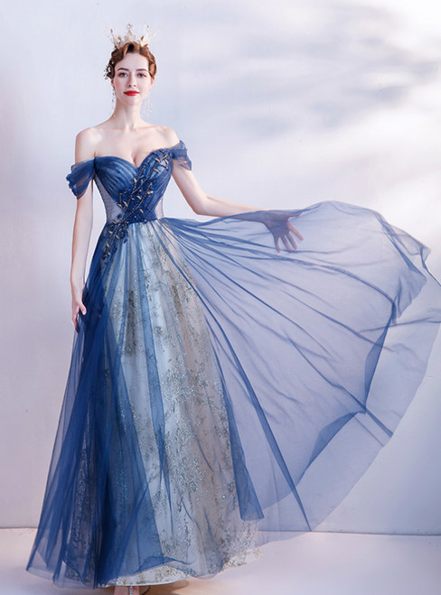 In Stock:Ship in 48 Hours Blue Tulle Sequins Beading Pleats Prom Dress