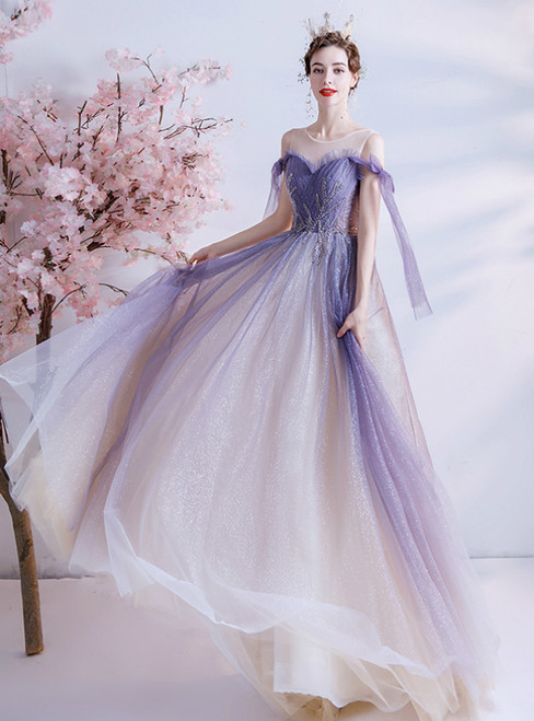 In Stock:Ship in 48 Hours Purple Tulle Pleats Beading Prom Dress