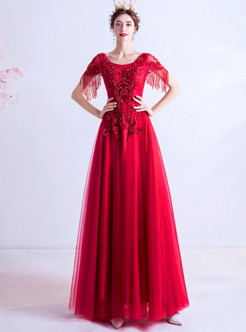 In Stock:Ship in 48 Hours Red Tulle Cap Sleeve Beading Prom Dress