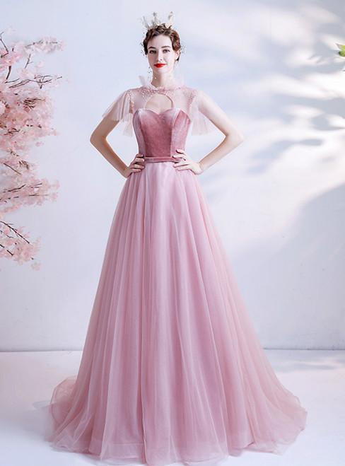 In Stock:Ship in 48 Hours Pink Tulle Velvet Beading Prom Dress