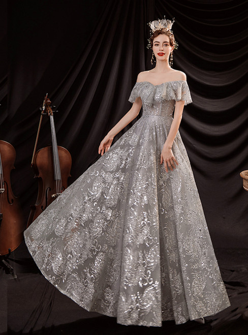 In Stock:Ship in 48 Hours Silver Sequins Off the Shoulder Prom Dress