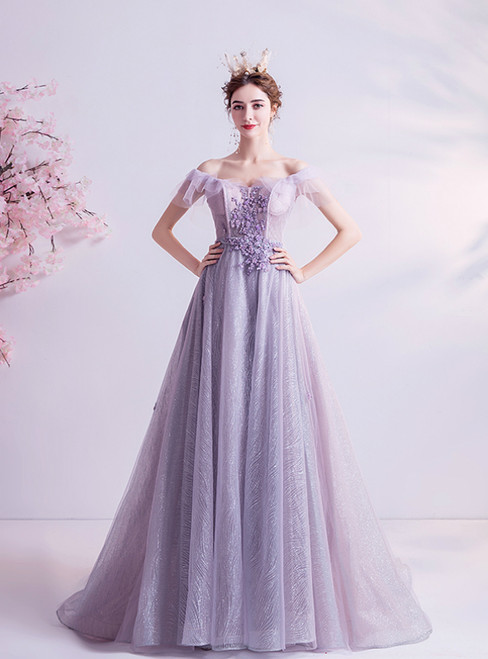 In Stock:Ship in 48 Hours Purple Tulle Beading Prom Dress