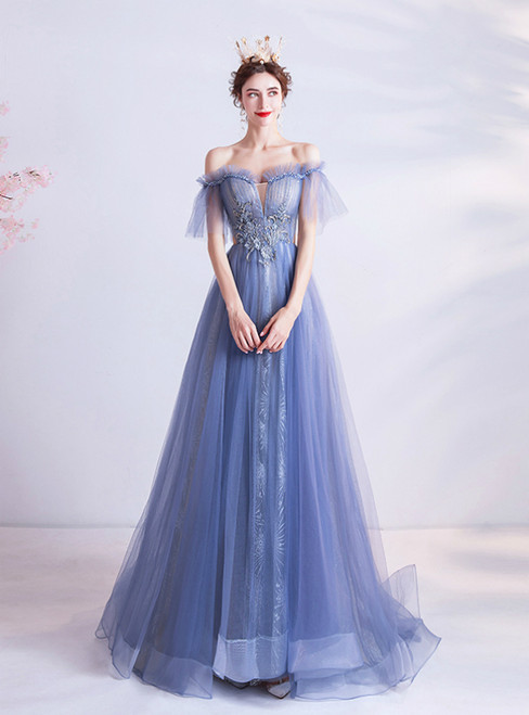 In Stock:Ship in 48 Hours Blue Tulle Beading Pleats Prom Dress