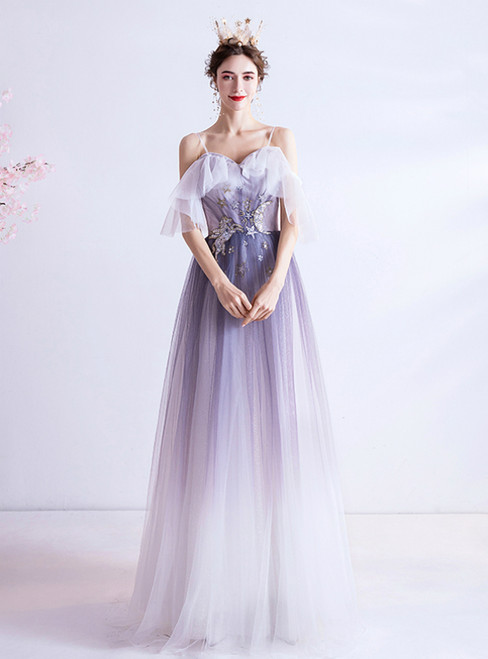 In Stock:Ship in 48 Hours Simple Purple Tulle Sequins Prom Dress