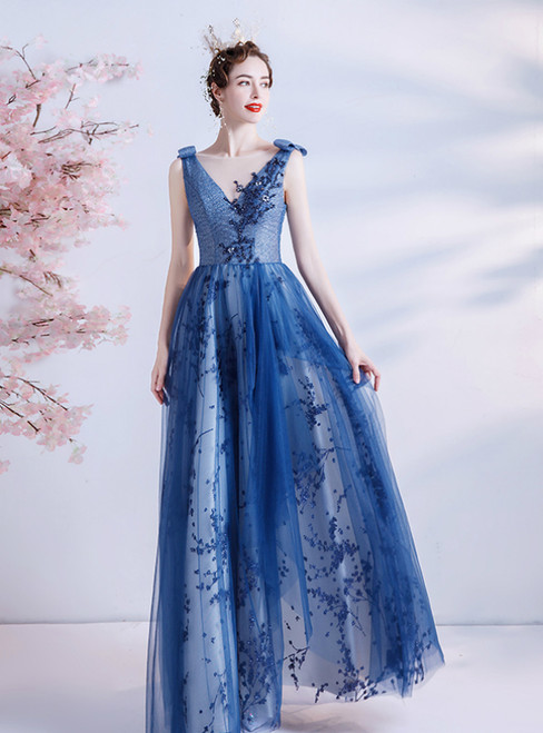 In Stock:Ship in 48 Hours Blue Tulle Sequins Beading Formal Prom Dress