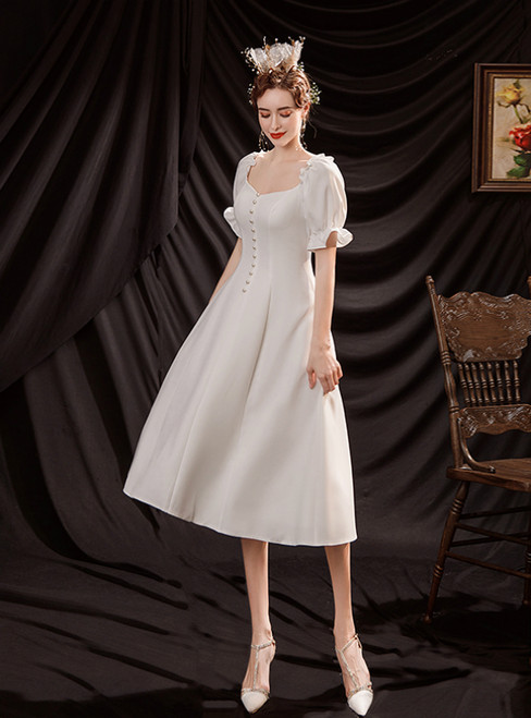 In Stock:Ship in 48 Hours White Satin Square Short Sleeve Wedding Dress