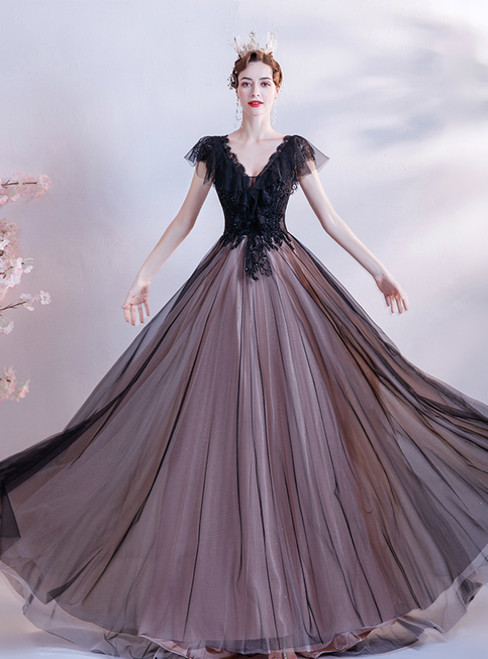 In Stock:Ship in 48 Hours Black Tulle Cap Sleeve V-neck Beading Prom Dress