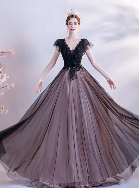 In Stock:Ship in 48 Hours Black Tulle Cap Sleeve V-neck Beading Prom Dress