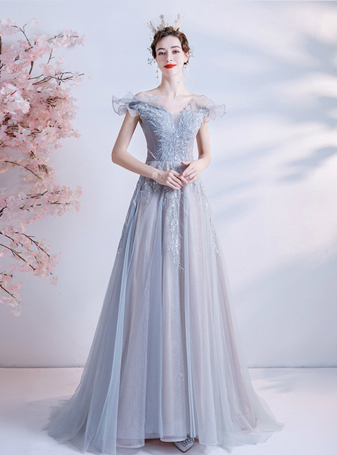 In Stock:Ship in 48 Hours Gray Tulle Off the Shoulder Sequins Prom Dress
