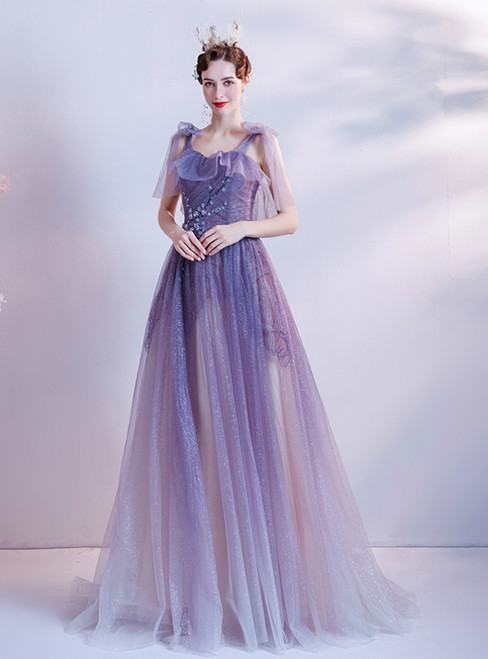 In Stock:Ship in 48 Hours Purple Tulle Sequins Spaghetti Straps Beading Prom Dress