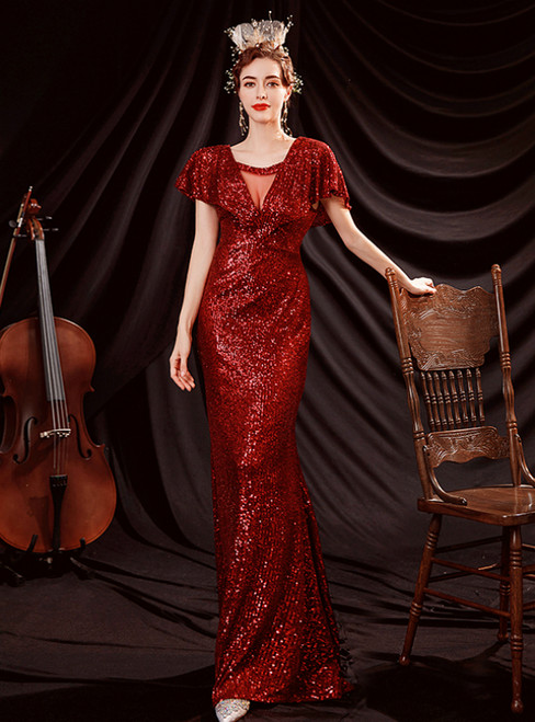 In Stock:Ship in 48 Hours Red Mermaid Sequins Bat Prom Dress