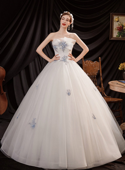 In Stock:Ship in 48 Hours White Ball Gown Tulle Strapless Wedding Dress