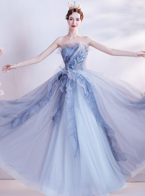 In Stock:Ship in 48 Hours Blue Tulle Strapless Pleats Beads Prom Dress