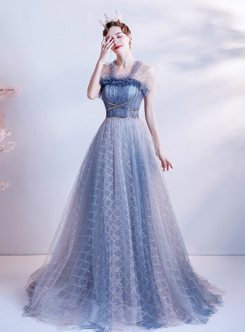 In Stock:Ship in 48 Hours Blue Tulle Pleats Prom Dress