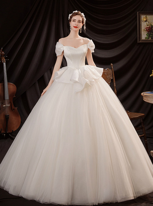 In Stock:Ship in 48 Hours Ball Gown Tulle Off the Shoulder White Wedding Dress