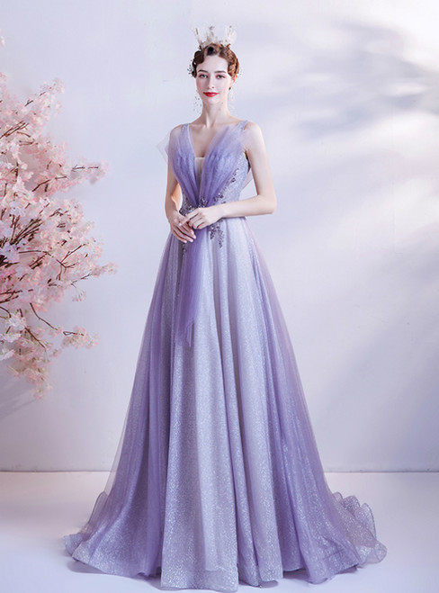In Stock:Ship in 48 Hours Purple Tulle V-neck Prom Dress