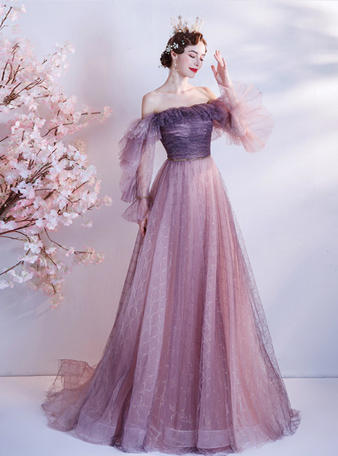 In Stock:Ship in 48 Hours Purple Tulle Long Sleeve Prom Dress