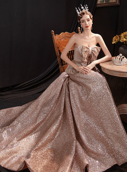 In Stock:Ship in 48 Hours Coffee Gold Sequins Sweetheart Prom Dress