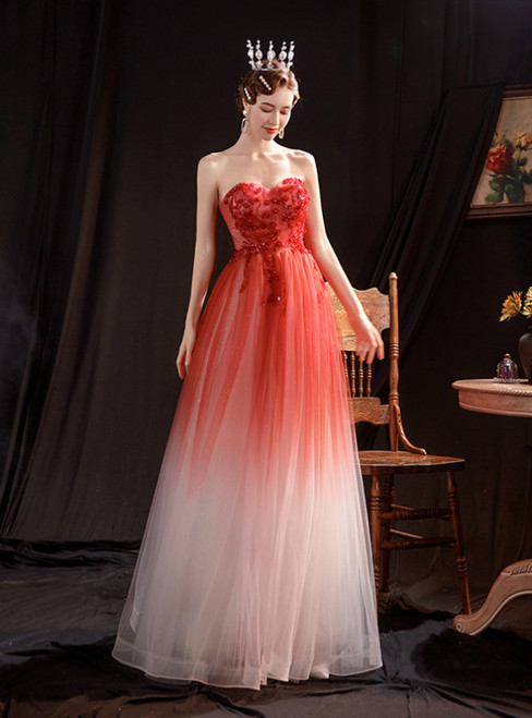 In Stock:Ship in 48 Hours Red Tulle Sweetheat Beading Prom Dress