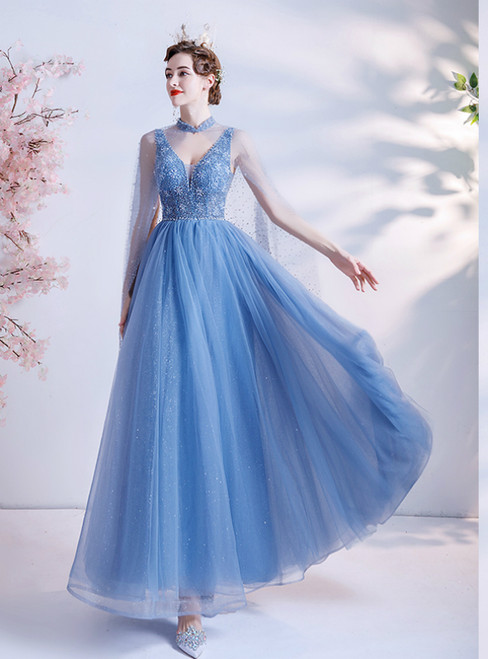 In Stock:Ship in 48 Hours Blue Tulle V-neck Beads Prom Dress