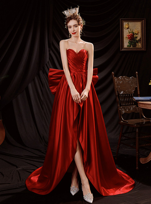In Stock:Ship in 48 Hours Red Hi Lo Satin Pleats Prom Dress