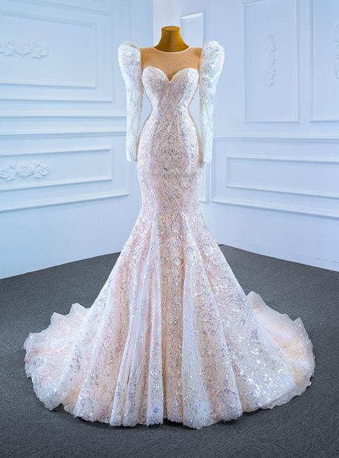 Champagne Mermaid Sequins Long Sleeve Wedding Dress